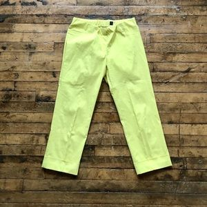 Yellow elastic waist ankle pants